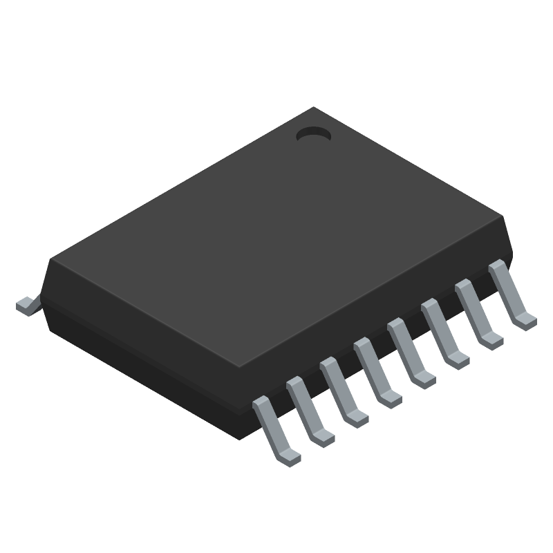 PHILIPS TDA1549T (Small Outline Packages) 3D model isometric projection.
