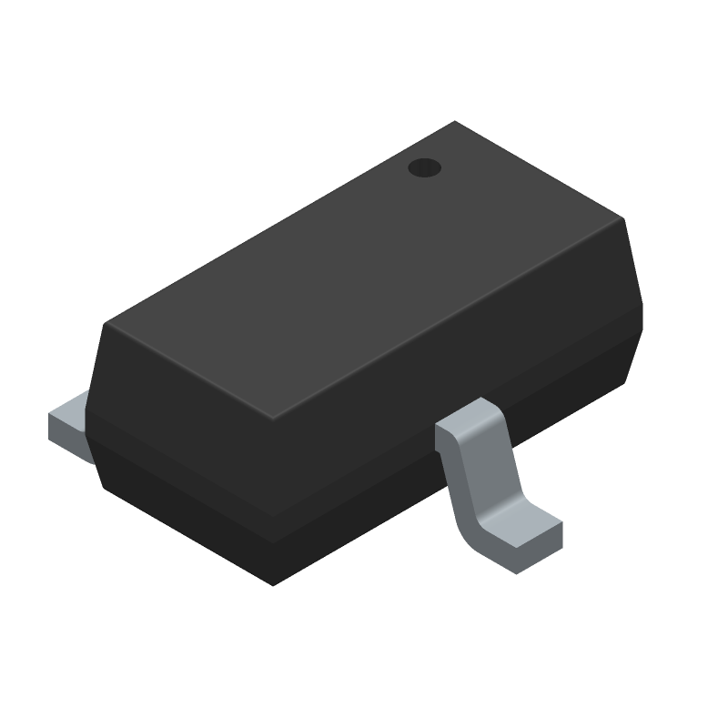 Infineon BSR302NL6327HTSA1 (SOT23 (3-Pin)) 3D model isometric projection.
