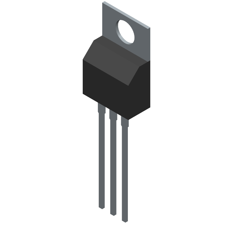 ON Semiconductor MC7805BTG (Transistor Outline, Vertical) 3D model isometric projection.