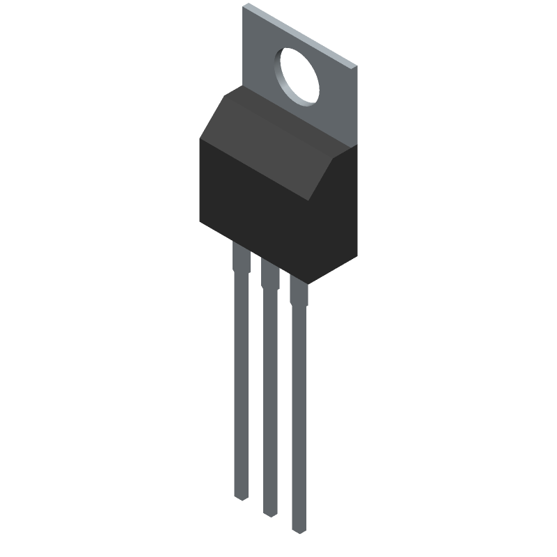 STMicroelectronics L7805CV (Transistor Outline, Vertical) 3D model isometric projection.