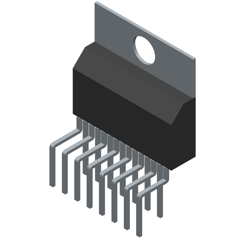 STMicroelectronics TDA7297 (Transistor Outline, Vertical) 3D model isometric projection.