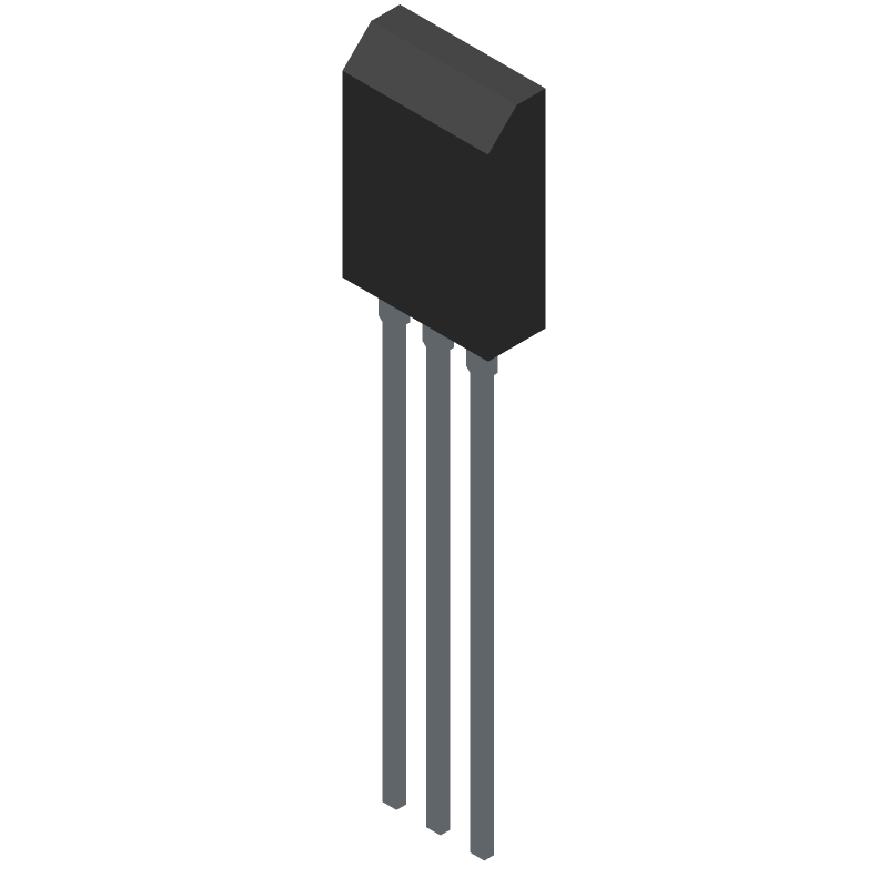 ON Semiconductor BD139G (Transistor Outline, Vertical) 3D model isometric projection.