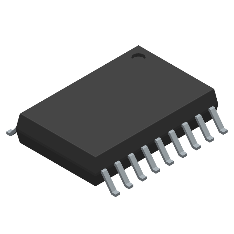 Texas Instruments ULN2803ADW (Small Outline Packages) 3D model isometric projection.