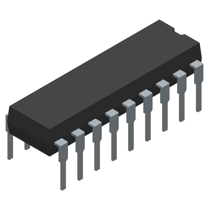 Microchip PIC16F648A-I/P (Dual-In-Line Packages) 3D model isometric projection.