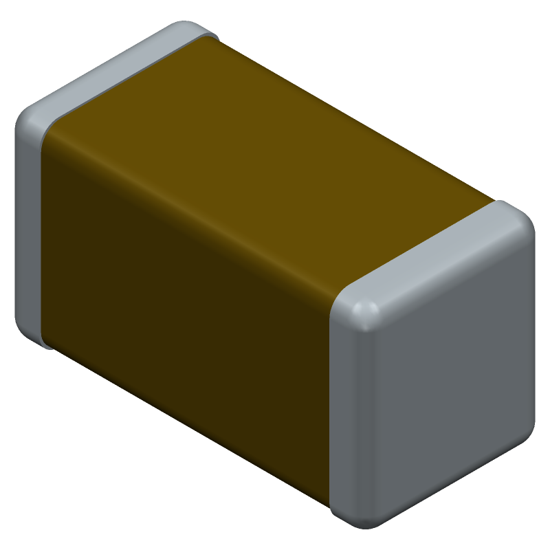 TDK C1005X5R1V225K050BC (Capacitor Chip Non-polarised) 3D model isometric projection.