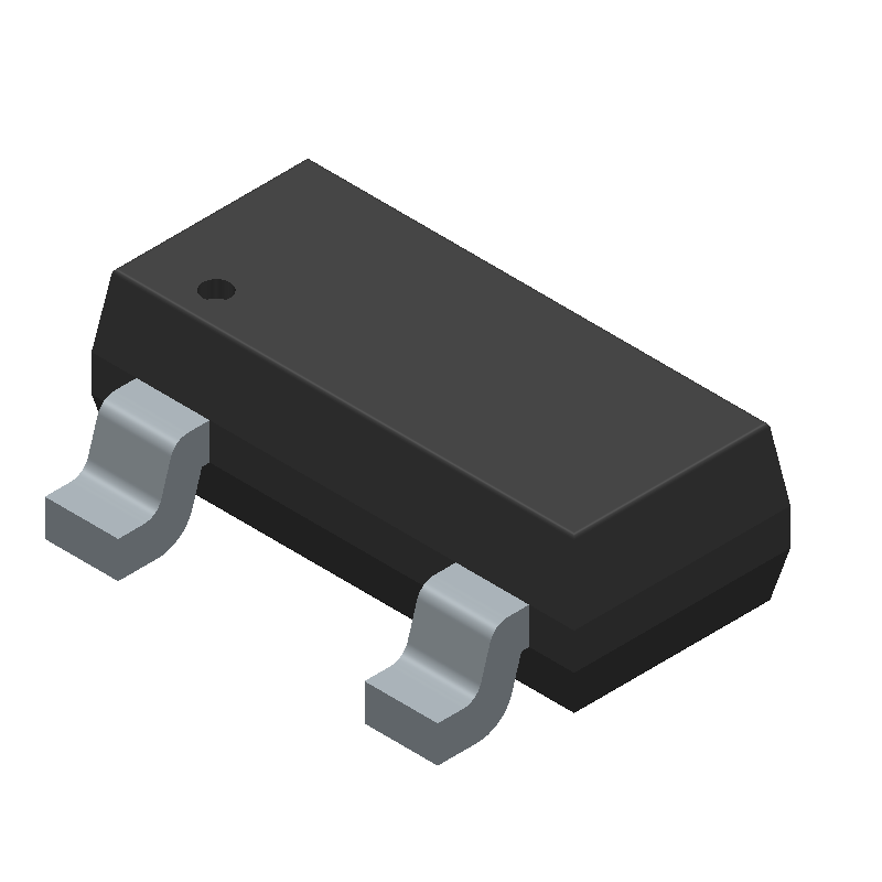 Diodes Inc. BSN20-7 (SOT23 (3-Pin)) 3D model isometric projection.