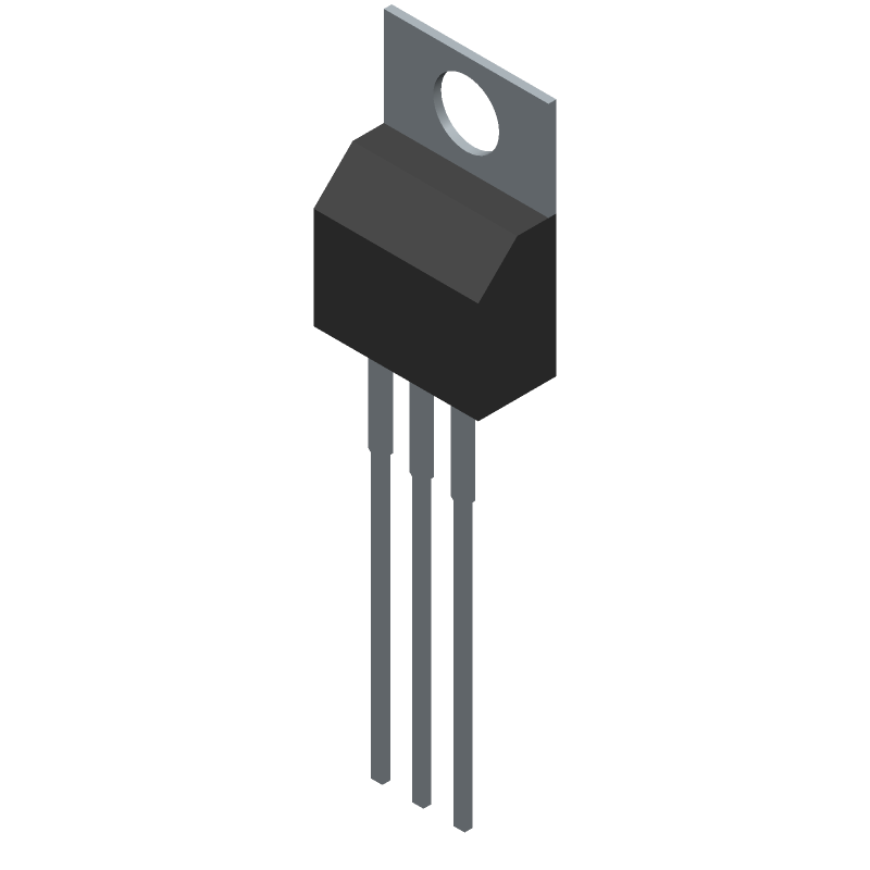 Infineon IRFB4227PBF (Transistor Outline, Vertical) 3D model isometric projection.