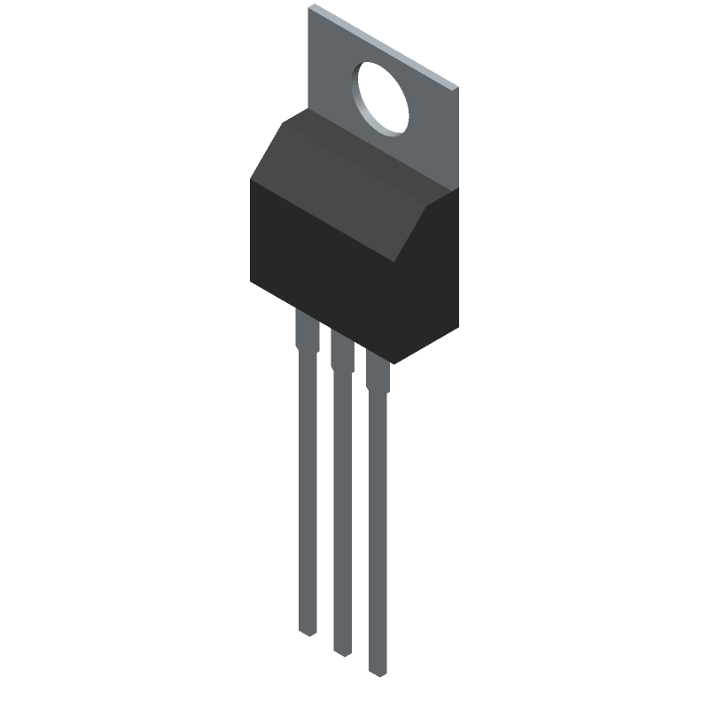 Infineon IRF540NPBF (Transistor Outline, Vertical) 3D model isometric projection.