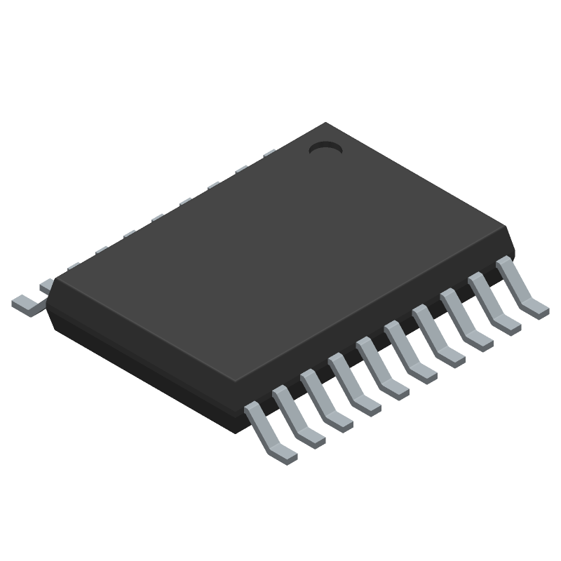 Microchip MCP2515T-I/ST (Small Outline Packages) 3D model isometric projection.