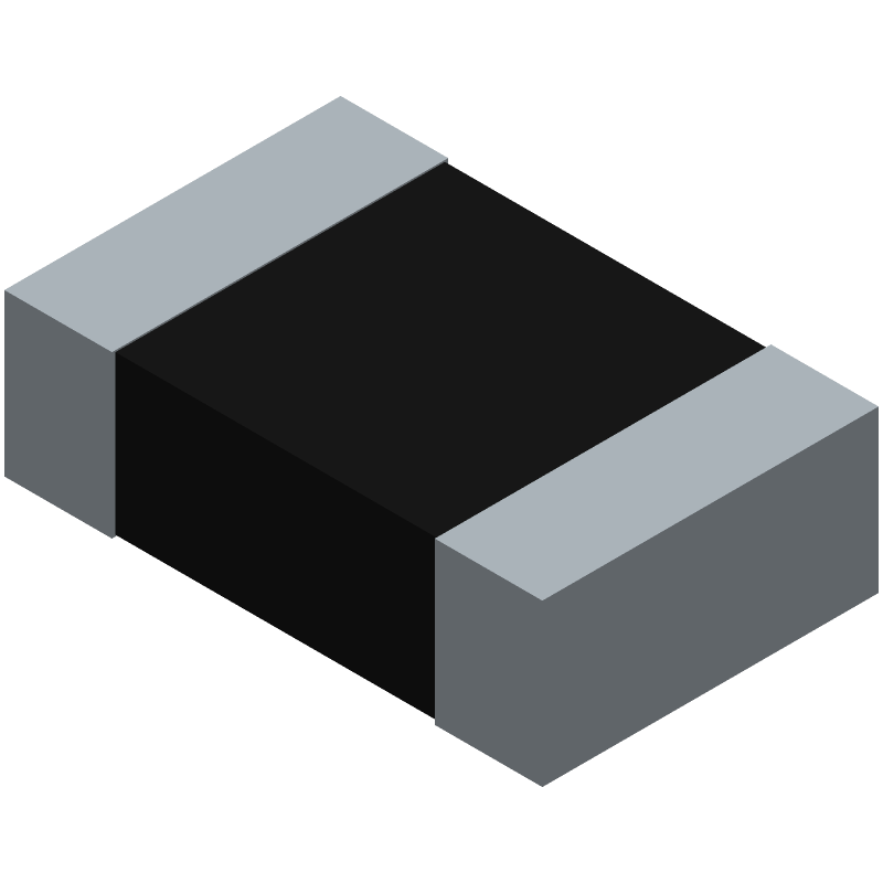 Vishay CRCW0805180RFKEAHP (Resistor Chip) 3D model isometric projection.