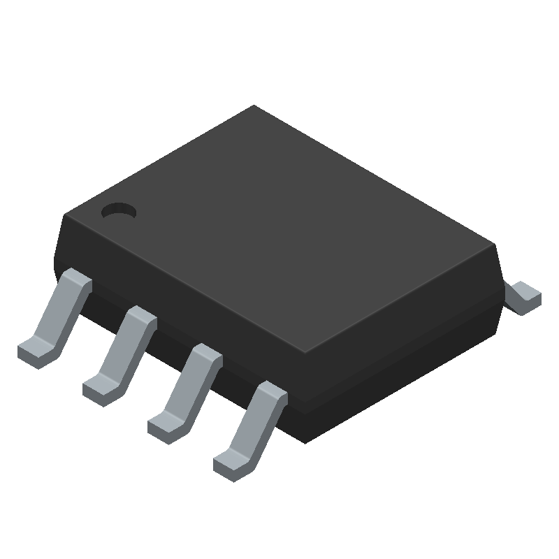 Texas Instruments NE555D (Small Outline Packages) 3D model isometric projection.