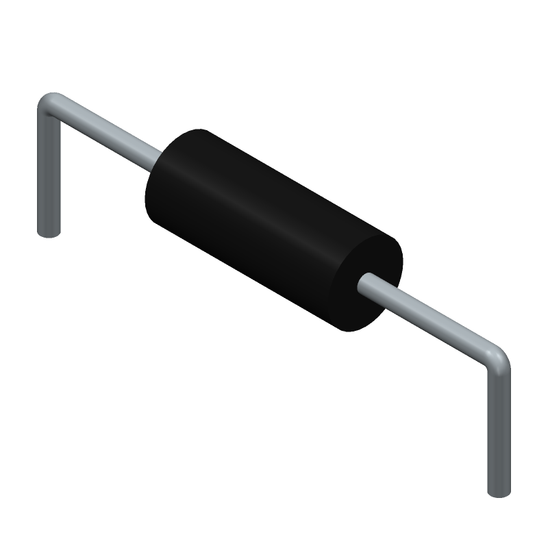 RS Components 7077666 (Resistors, Axial Diameter Horizontal Mounting) 3D model isometric projection.