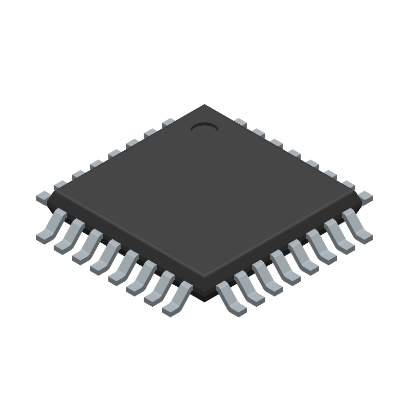 Microchip ATMEGA328PB-ANR (Quad Flat Packages) 3D model isometric projection.