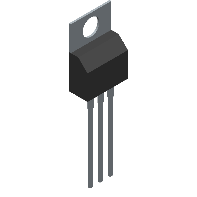 National Semiconductor LM7805CT (Transistor Outline, Vertical) 3D model isometric projection.