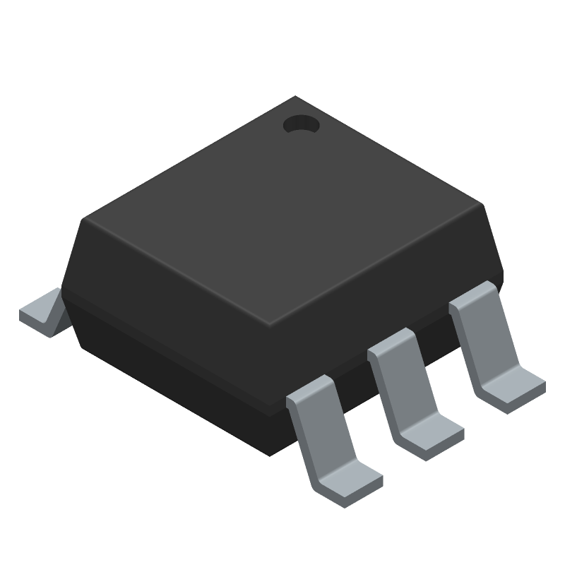 Lite-On MOC3063S-TA1 (SOT23 (6-Pin)) 3D model isometric projection.