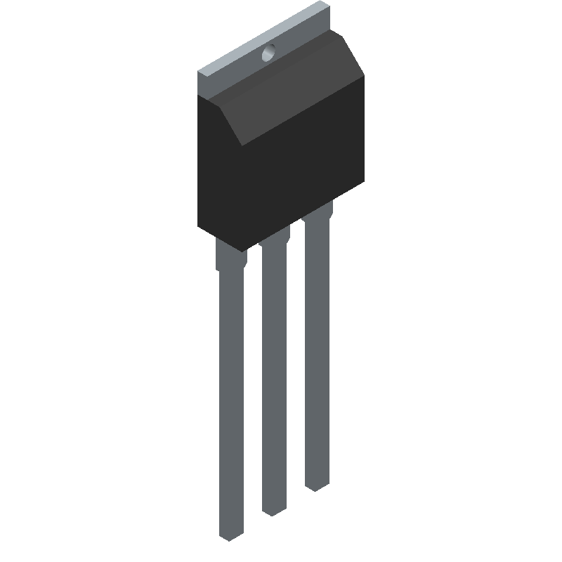 Infineon IRFU3711ZPBF (Transistor Outline, Vertical) 3D model isometric projection.