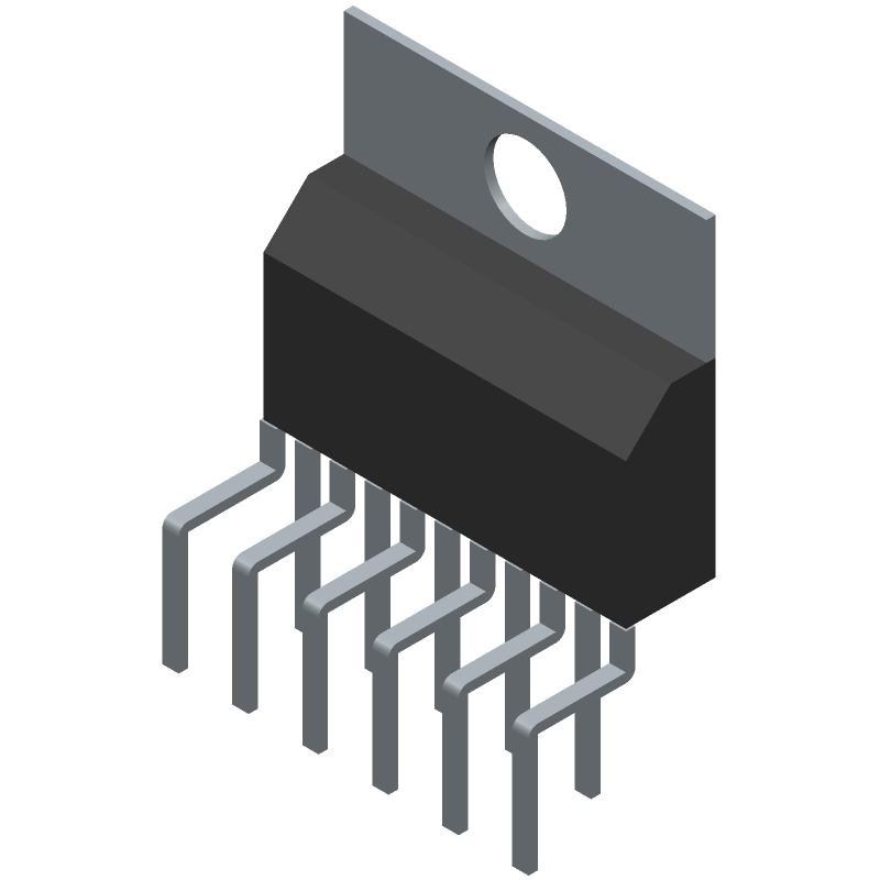 STMicroelectronics L6203 (Transistor Outline, Vertical) 3D model isometric projection.