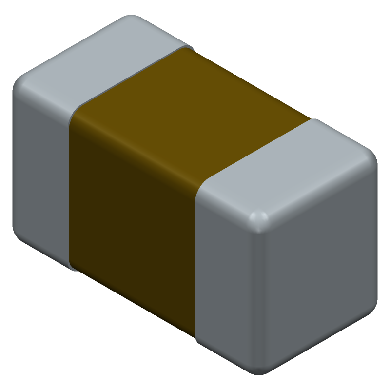 YAGEO (PHYCOMP) CC0603KRX7R7BB103 (Capacitor Chip Non-polarised) 3D model isometric projection.