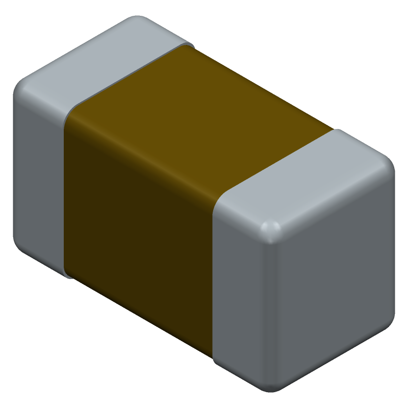 Murata Electronics GRM1882C1H681JA01D (Capacitor Chip Non-polarised) 3D model isometric projection.