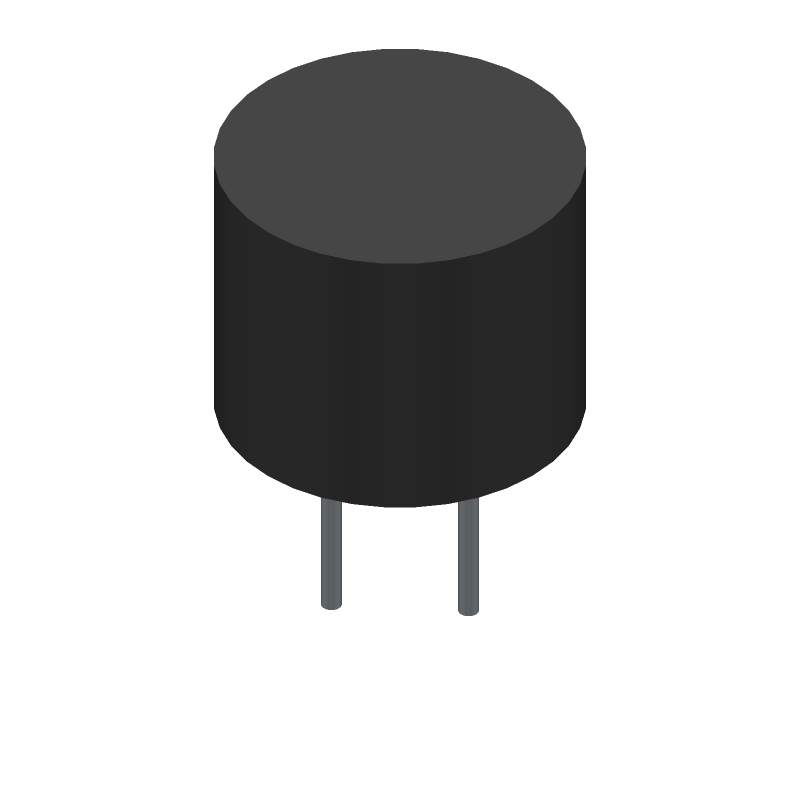 RS Components 3030161 (Capacitor, Polarized Radial Diameter) 3D model isometric projection.