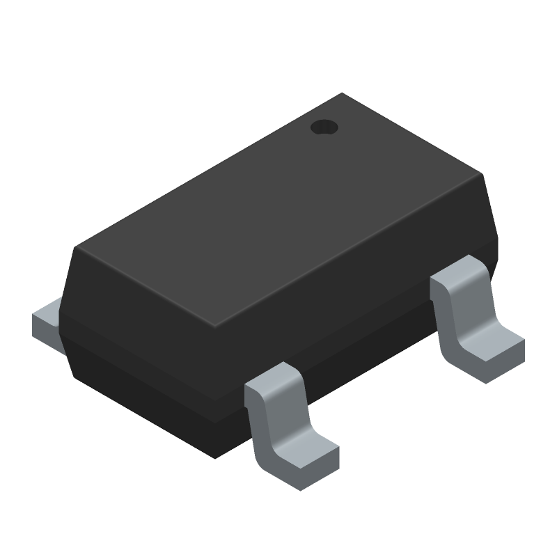 Silicon Labs Si7210-B-00-IVR (SOT23 (5-Pin)) 3D model isometric projection.