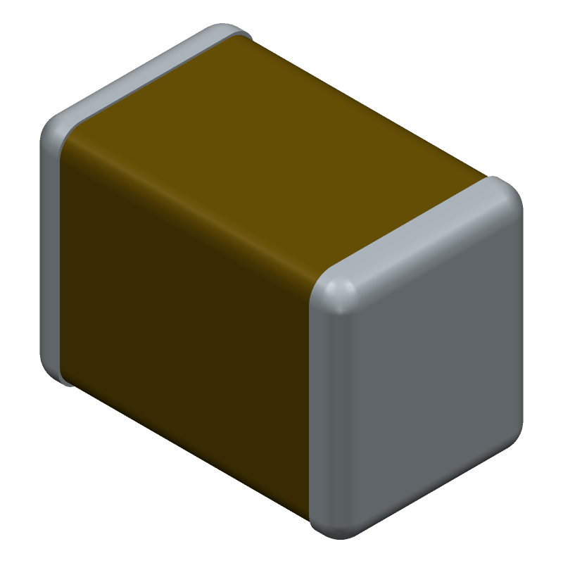 TDK C2012JB1A476M125AC (Capacitor Chip Non-polarised) 3D model isometric projection.