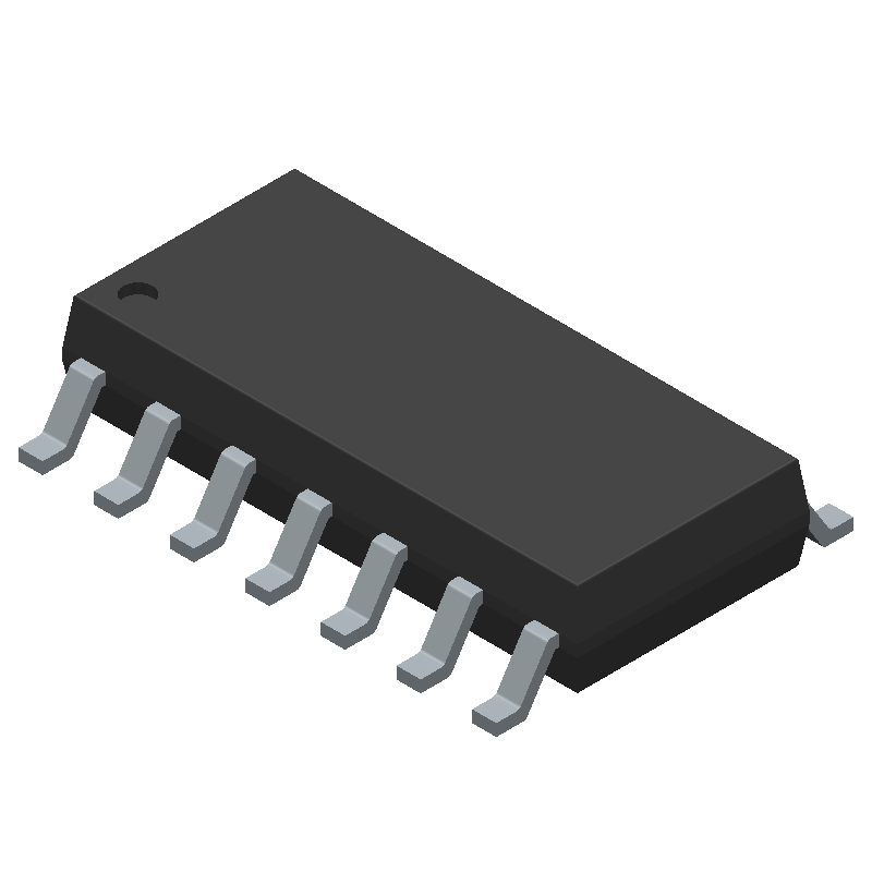 STMicroelectronics LM324ADT (Small Outline Packages) 3D model isometric projection.