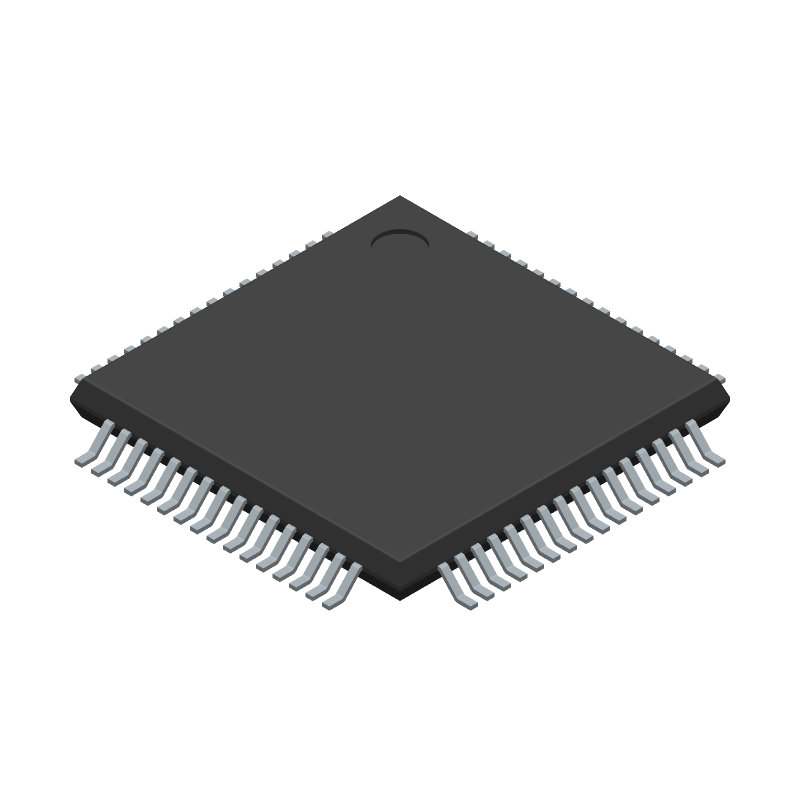 Microchip PIC18F67K22-I/PTRSL (Quad Flat Packages) 3D model isometric projection.