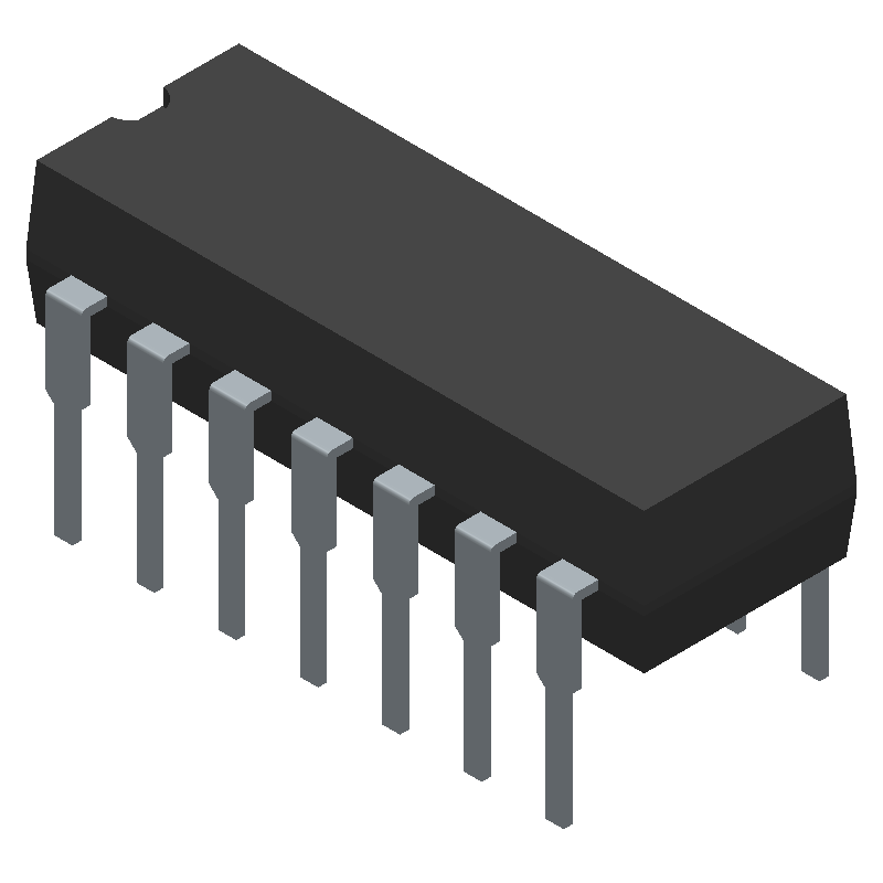 ON Semiconductor LM324N (Dual-In-Line Packages) 3D model isometric projection.