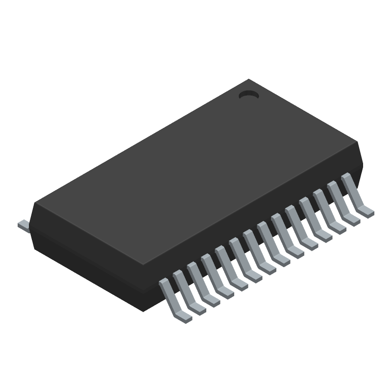 FTDI Chip FT232RL (Small Outline Packages) 3D model isometric projection.
