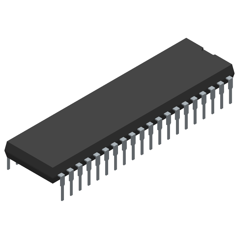 Microchip PIC16F887-I/P (Dual-In-Line Packages) 3D model isometric projection.