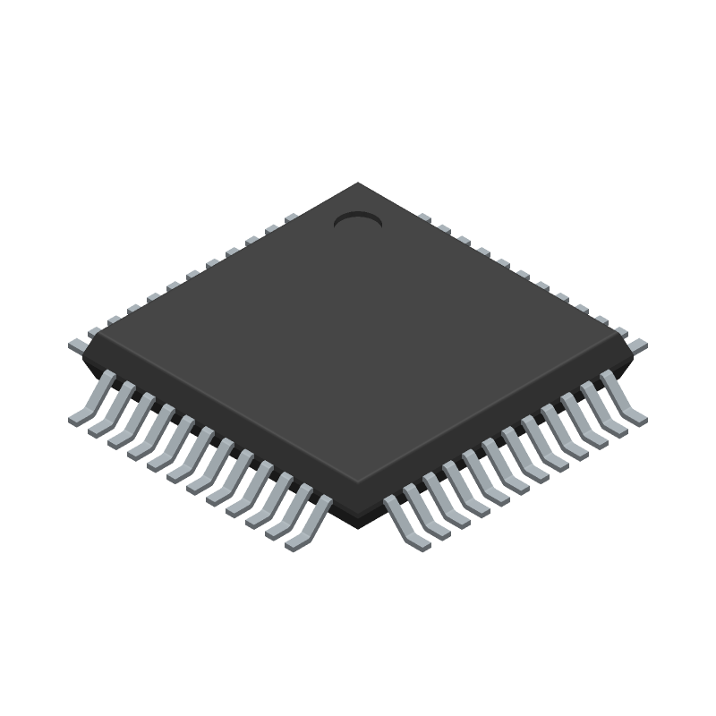 Microchip ATSAMD21G18A-AU (Quad Flat Packages) 3D model isometric projection.