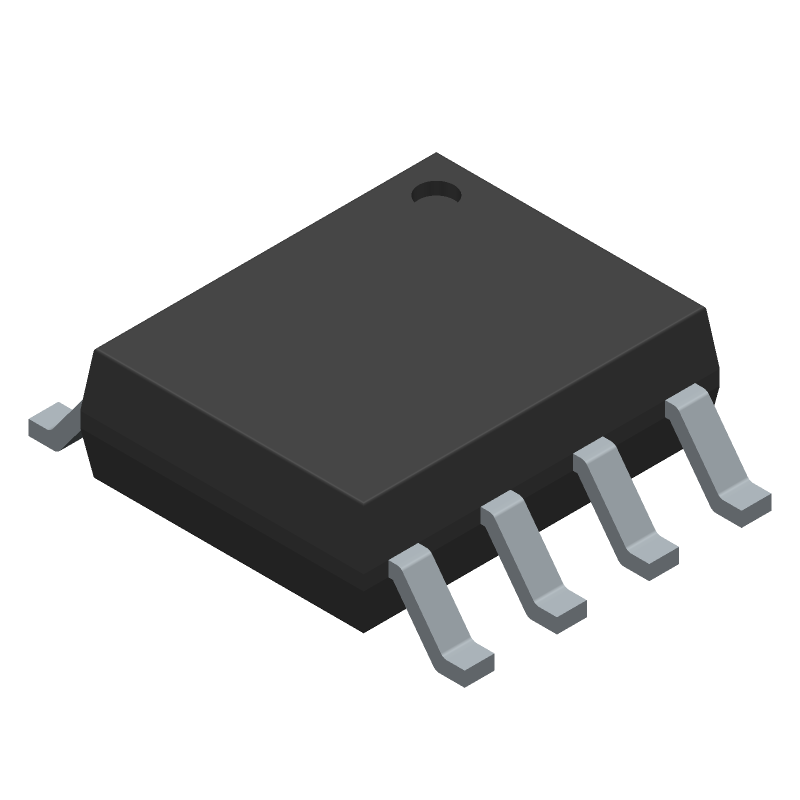 Texas Instruments LM555CMX/NOPB (Small Outline Packages) 3D model isometric projection.
