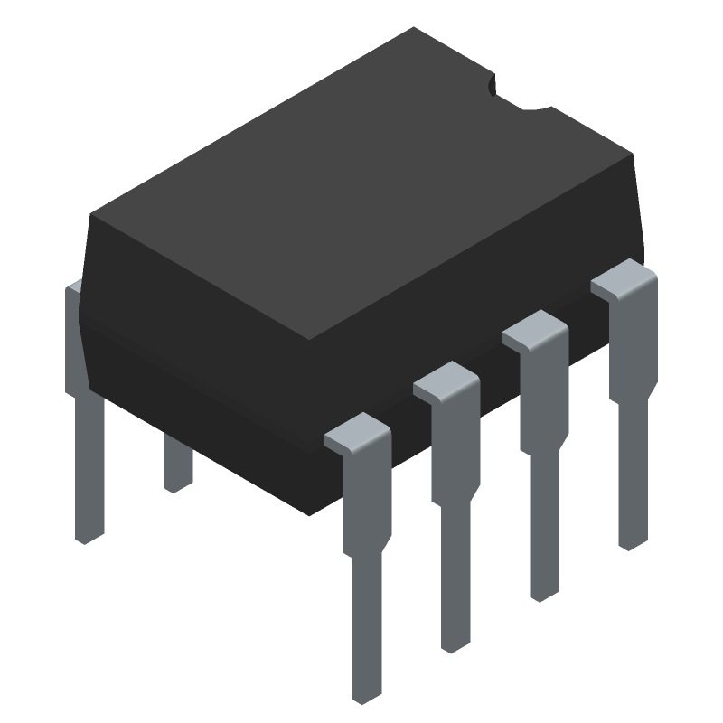 ON Semiconductor LM358N (Dual-In-Line Packages) 3D model isometric projection.