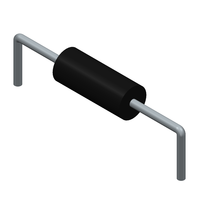 KOA Speer MFS1/2CCT52A1001F (Resistors, Axial Diameter Horizontal Mounting) 3D model isometric projection.