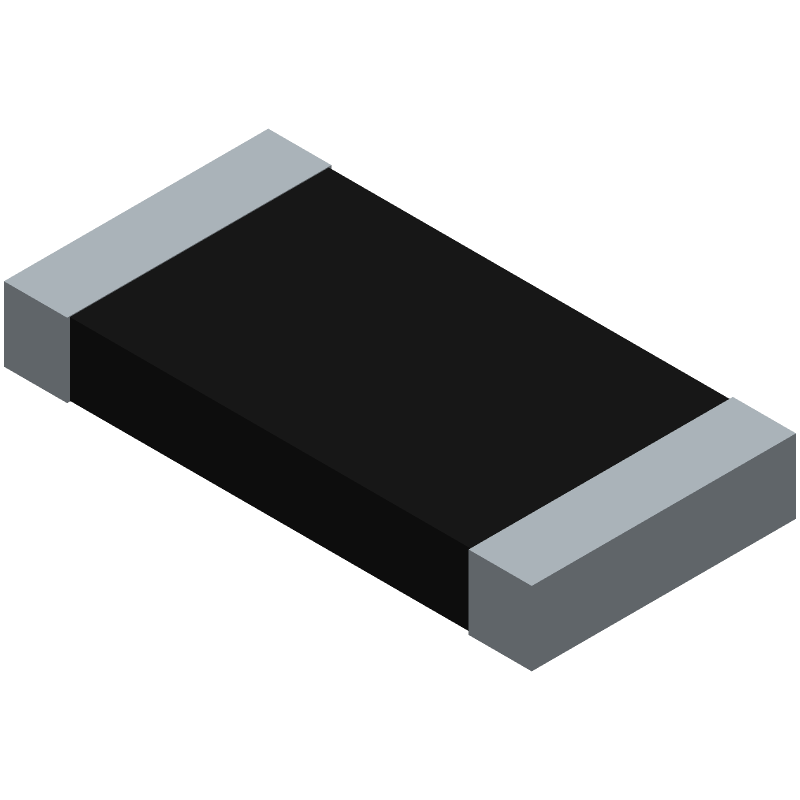 YAGEO (PHYCOMP) PE2512FKE7W0R01L (Resistor Chip) 3D model isometric projection.