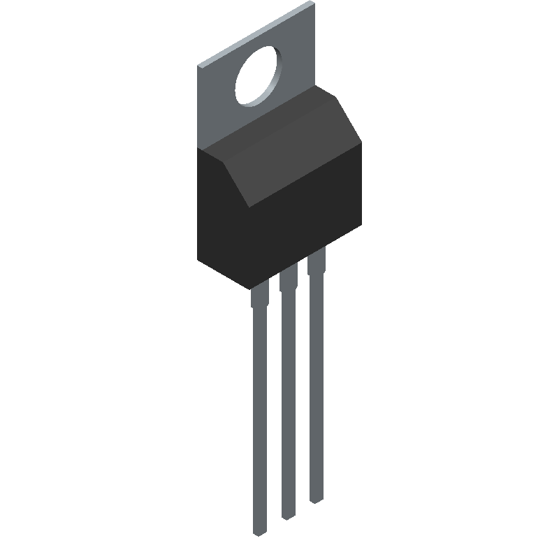 Fairchild Semiconductor LM317AHVT (Transistor Outline, Vertical) 3D model isometric projection.